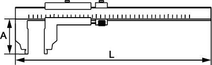 LONG TIP VERNIER CALIPER INOX 200 MM × 0,02 MM