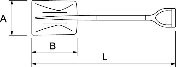 SHOVEL ALUMINIUM V HANDLE 305 × 260 × 990 MM