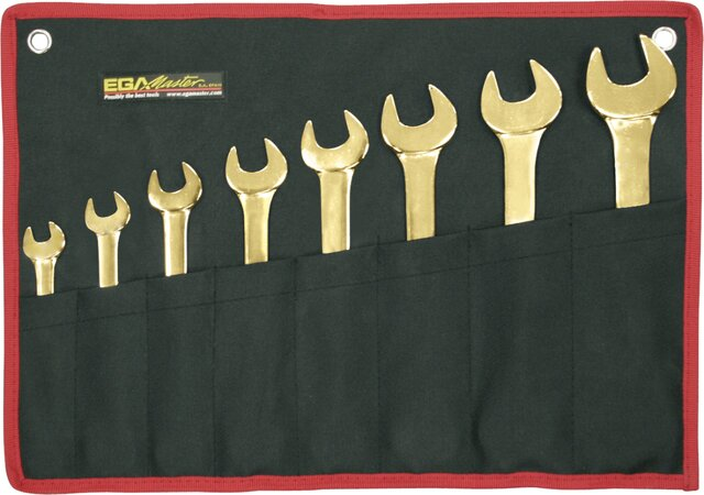 SET 8 OPEN-END WRENCHES NON-SPARKING AL-BRON 6 - 7 / 20 - 22 MM