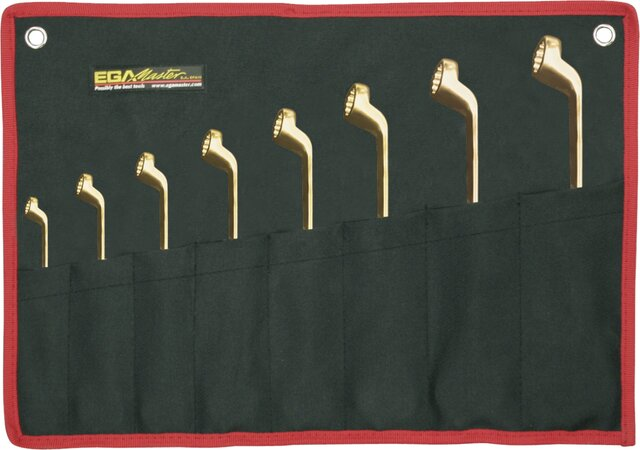 SET 12 DOUBLE OFFSET RING WRENCHES NON-SPARKING AL-BRON 6 - 7 / 30 - 32 MM