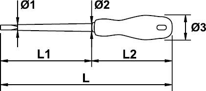SCREWDRIVER ELECTRICIAN EGA ROTORK 1000 V 2,5 × 60 MM