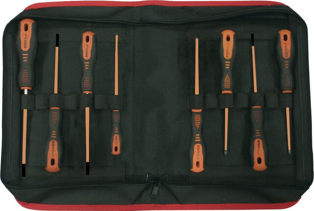 SET 8 SCREWDRIVERS ROTORK 1000 V EGA CLOTHING CASE