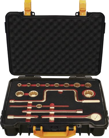 """SET SOCKET WRENCHES 1/2"""" 16 PIECES NON-SPARKING CU-BE 3/8""""-1.1/4"""""""