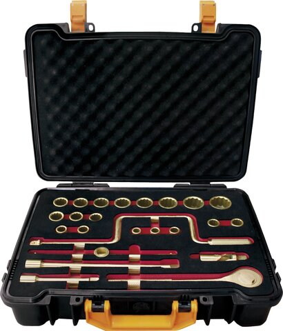 "SET SOCKET WRENCHES 1/2"" 24 PIECES NON-SPARKING CU-BE 1/4""-1.1/4"""