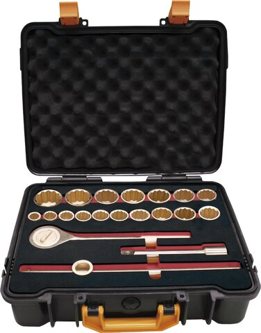 """SET 20 SOCKET WRENCHES 3/4"""" NON-SPARKING CU-BE 21 - 50 MM"""
