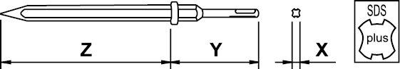 PNEUMATIC CHISEL NON SPARKING SDS-PLUS AL-BRON 500 MM