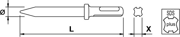 PNEUMATIC CHISEL NON SPARKING SDS-PLUS AL-BRON 125 MM