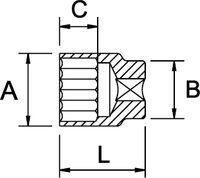 """SOCKET WRENCH SPLINE 1/4"""" 6 EDGES DIN 3120 M5 5/32"""" 4 MM E5"""