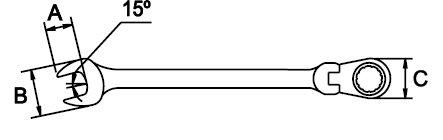 LLAVE COMBINADA ARTICULADA MASTERGEAR CROMADO PULIDO ESPEJO 21 MM