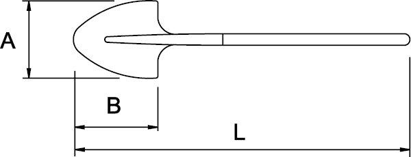 PALA REDONDA N° 2 MANGO LARGO 325 × 265 × 1400 MM