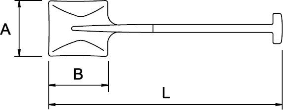 PALA CUADRADA N° 2 MANGO EN T 325 × 250 × 1020 MM