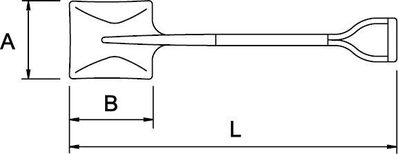 PALA CUADRADA N° 2 MANGO EN V 325 × 250 × 1020 MM