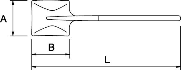PALA CUADRADA N° 2 MANGO LARGO 325 × 250 × 1400 MM