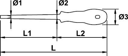 DESTORNILLADOR ELECTRICISTA EGA MASTERTORK 1000 V 2,5 × 75 MM