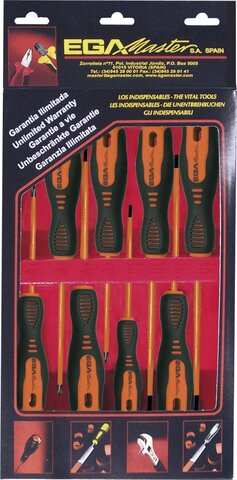JUEGO DE 6 DESTORNILLADORES ROTORK 1000 V EGA EN ESTUCHE DE CARTÓN REF. 76651, 76652, 76653, 76654, 76732, 76733