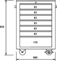 ARMARIOS-CARROS DE HERRAMIENTAS TOTALMENTE DE ACERO INOXIDABLE 7 CAJONES 680 × 470 × 935 MM