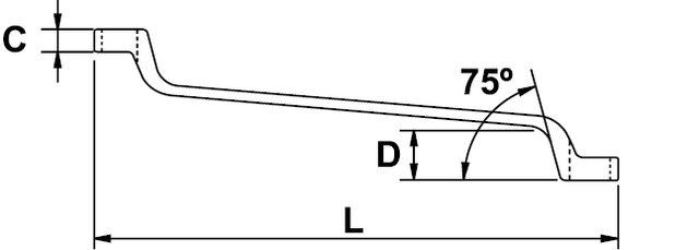 CLÉ POLYGONALE CONTRE-COUDÉE CHROMÉE AÉROSPATIALE 5,5 - 6 MM