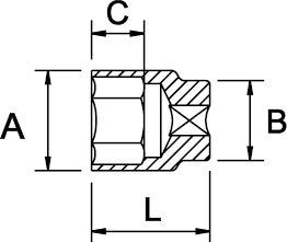 """DOUILLE 1/4"""" STANDARD 6 PANS DIN 3124 1000 V 12 MM"""